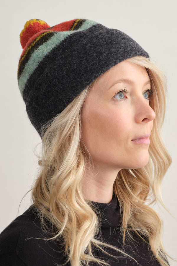 Jo Gordon Stripe Shetland Hat Lambswool