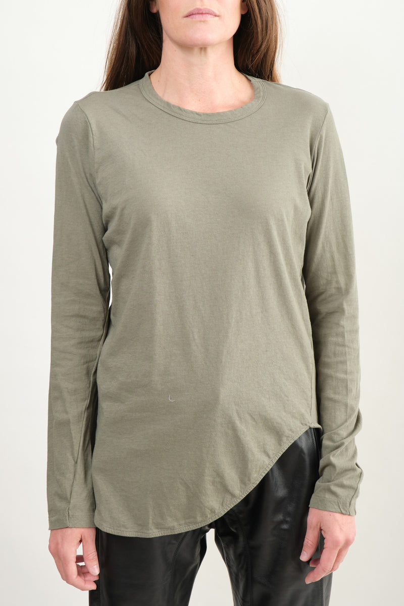 Heritage Scoop Hem L/S T-Shirt In Imperial Army Bassike