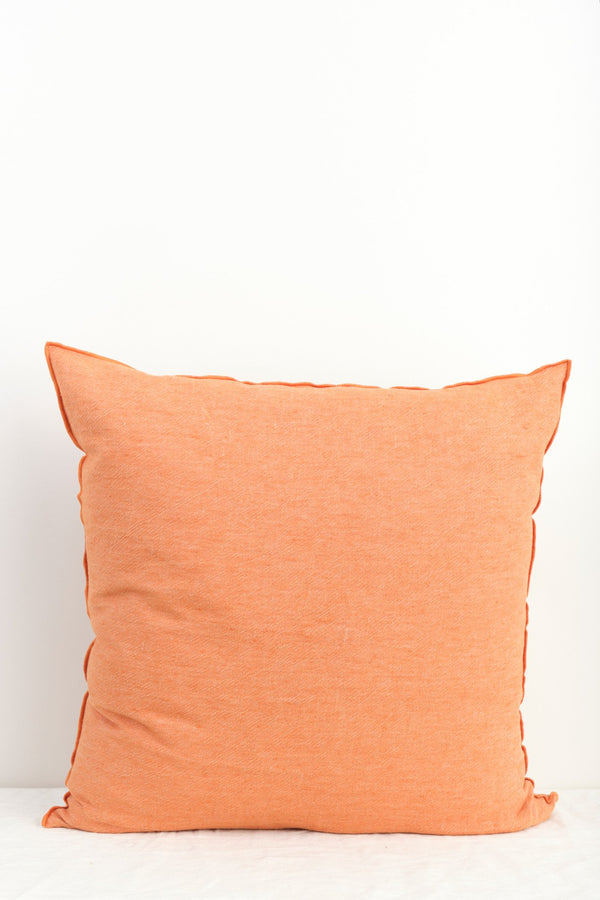 "Maison de Vacances 26 x 26"" Washed Linen Vice Versa Cushion In Safran"