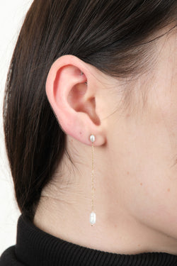 Wwake Long Pearl Shower Earrings