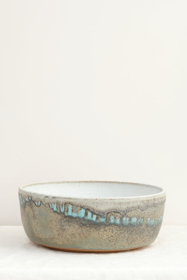 "Paige Stewart 12"" Deep Serving Bowl Eggshell & Turquoise Matte"