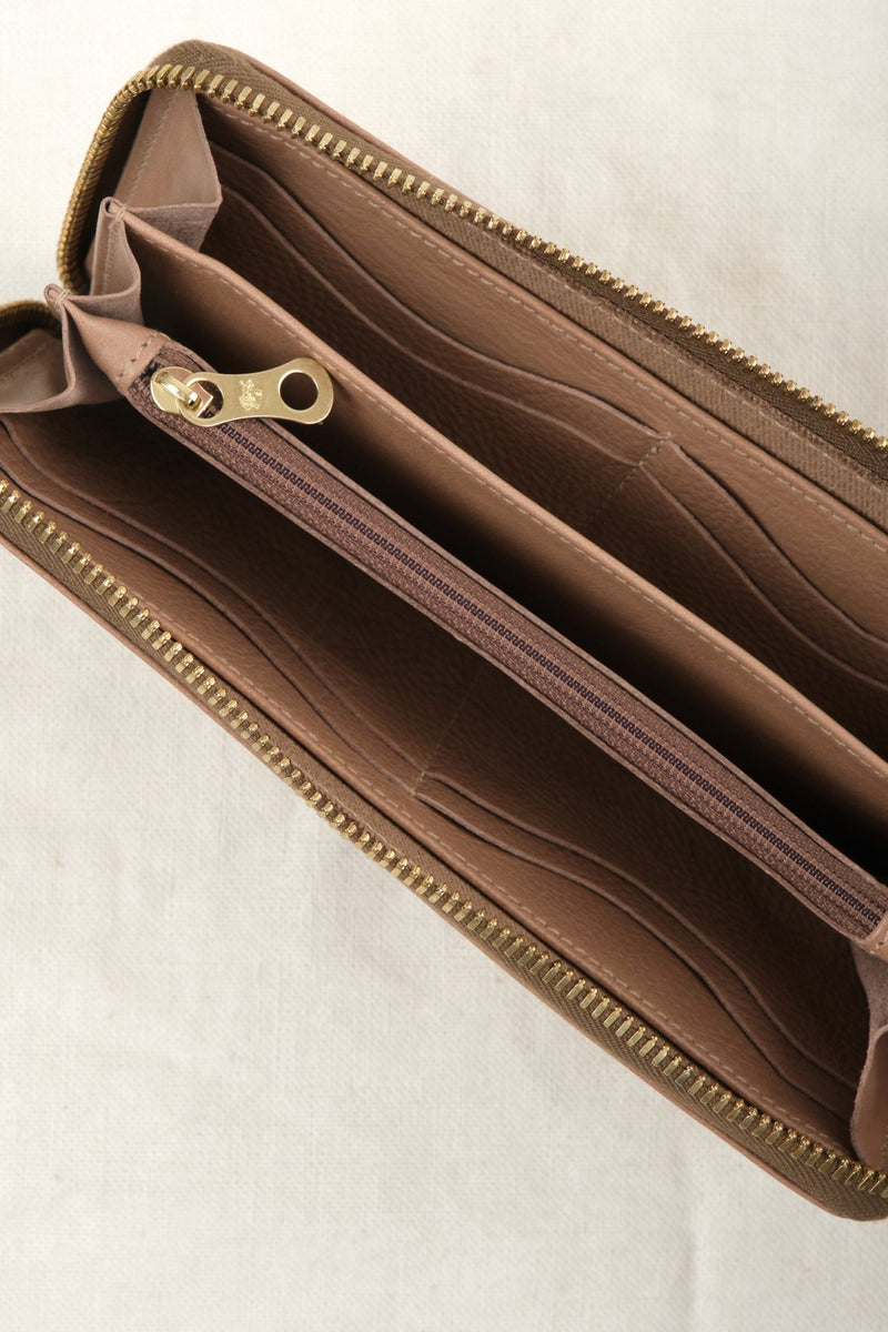 Il Bisonte Zip Around Wallet Taupe Leather