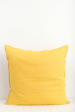 "Maison de Vacances 26 x 26"" Washed Linen Vice Versa Cushion In Tournesol"