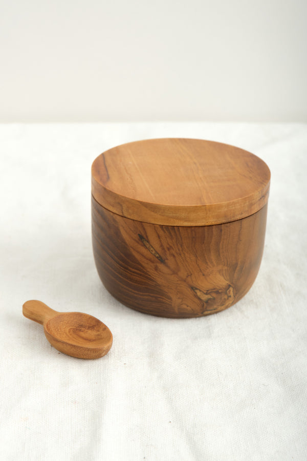 Be Home Teak Cellar Spoon W/Pivoting Lid