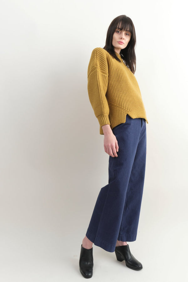 Micalea Greg Notched Hem Sweater In Ochre