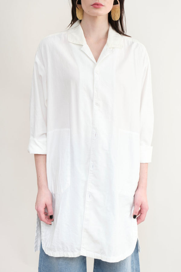 Sage De Cret Long Shirt Coat Off White
