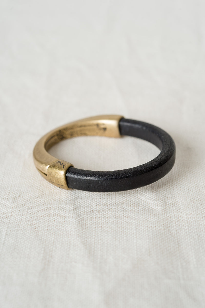 alison blair black leather bracelet with brass