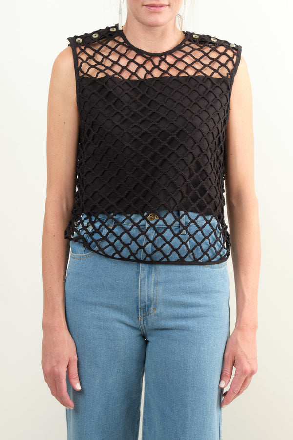 Black Macrame Top
