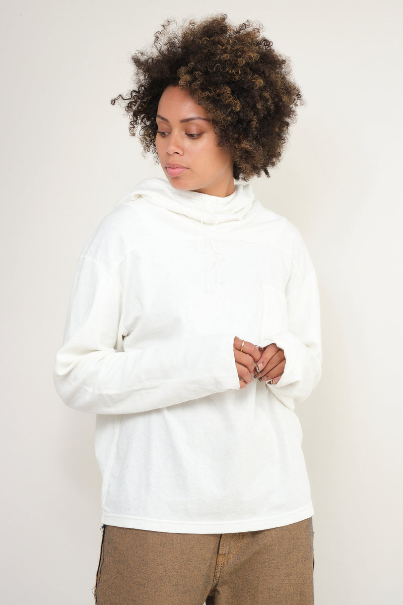 Jersey x Gauze Jersey ESKIMO Hooded Tee in White kapital