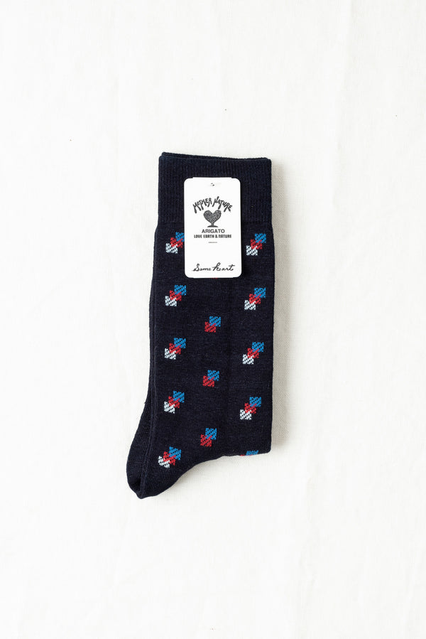 Blue Blue Indigo Dyed Jacquard Komon Pattern Socks In Blue
