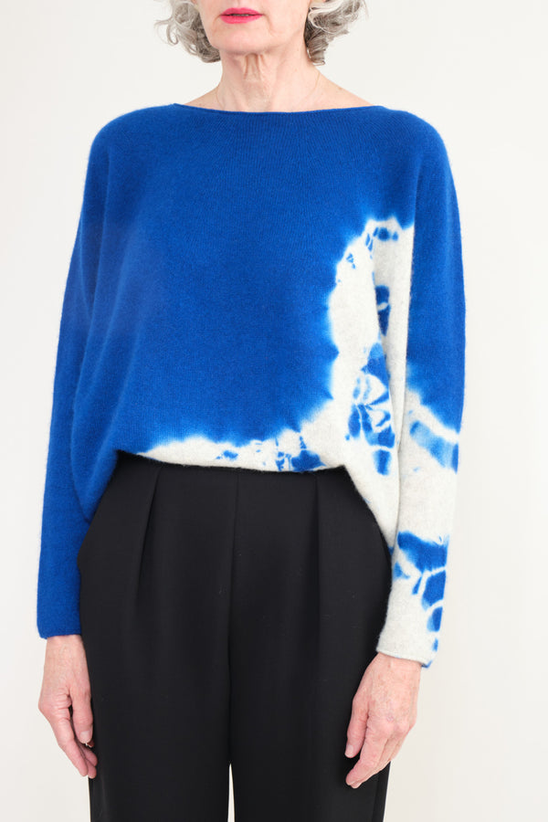 Suzusan Cashmere Seamless Wide Pullover Royal blue/light grey