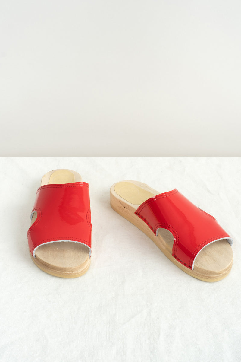 red patent clog sandal