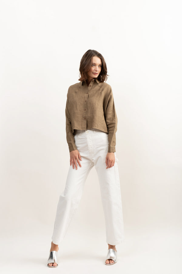7115 by Szeki Signature 3/4 Cropped Shirt Jacket In Ash Brown