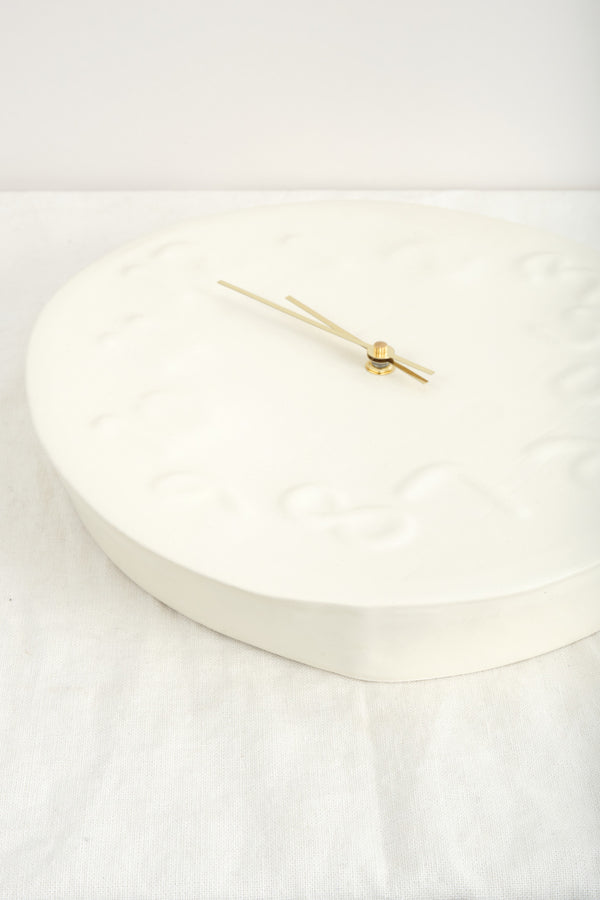 Workaday Handmade Embossed Clock White