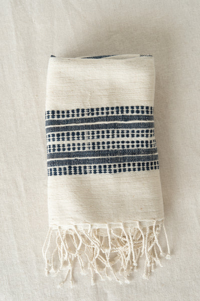 natural and navy aden hand towel from Creative women