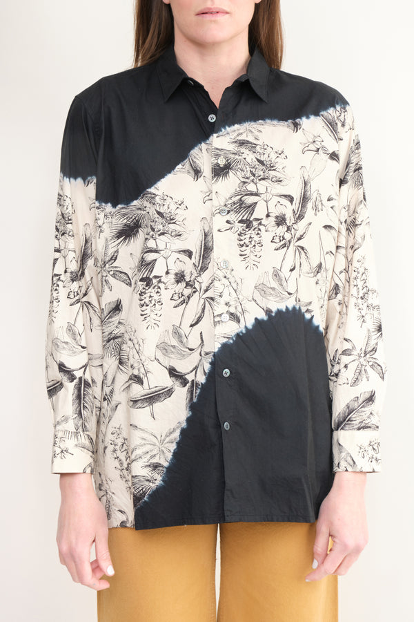 Suzusan Botanical Pattern Long Sleeve Shirt Black/Beige