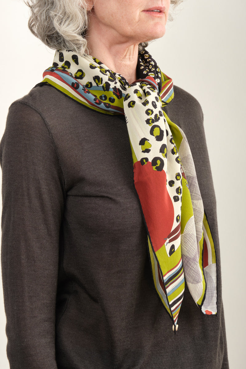 Rumisu Leopard Silk Scarf Off White & Lime