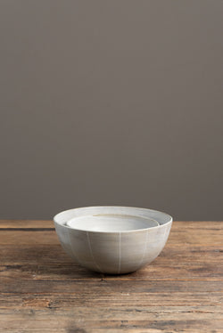 Kati Von Lehman Stoneware Striped Bowls In Brown/Eggshell