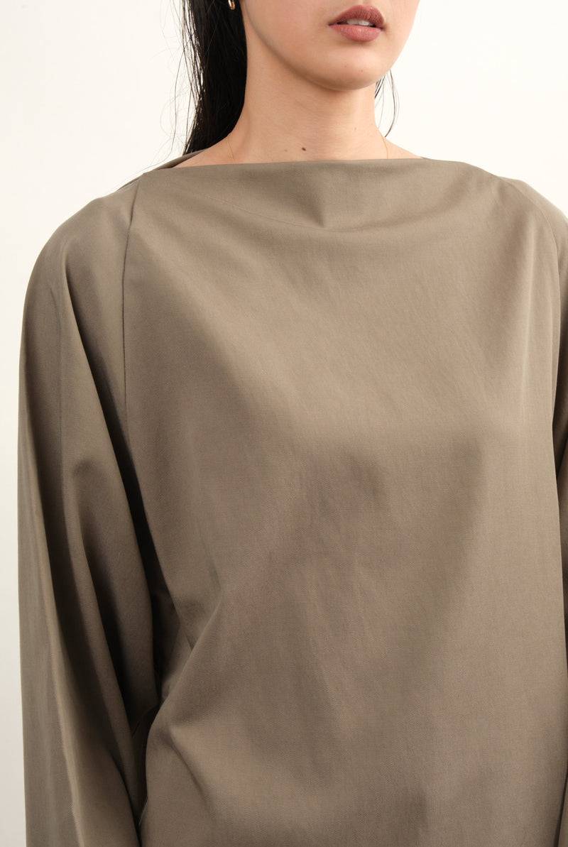 Folded Neck Top In Ash