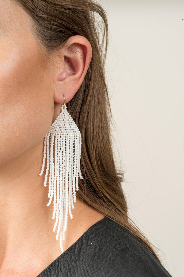 White Hand Beaded Earrings