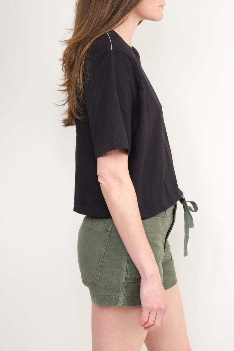 Cropped Boxy S/S T-Shirt In Black Spring