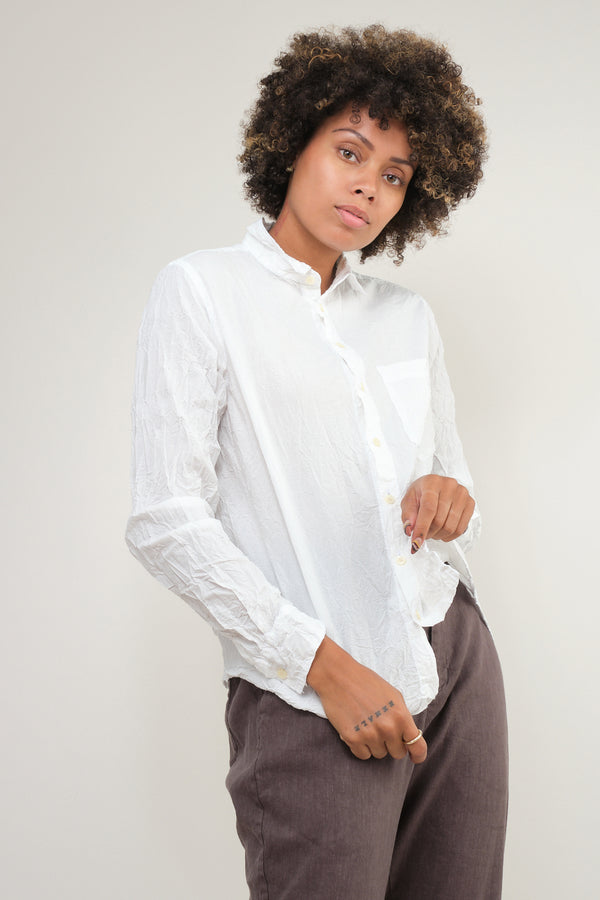 pas de calais white crinkle button up