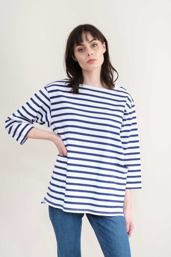 Sage De Cret Striped Boatneck T-Shirt In Off x Blue
