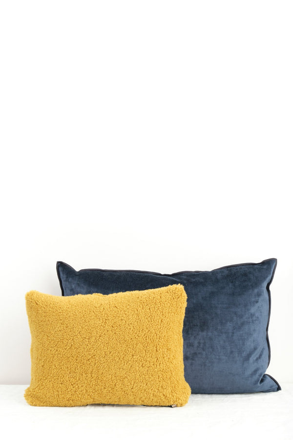 "Maison de Vacances 16 x 24"" Royal Velvet Vice Versa Cushion In Bleu Nuit"