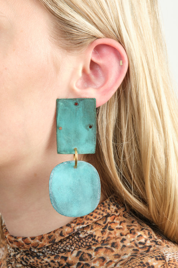 Annie Costello Brown Overt Earrings In Cyan Oxide
