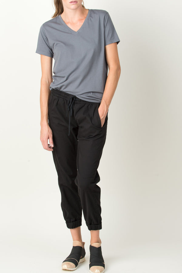 Save Khaki Layer V-Neck Tee In Metal