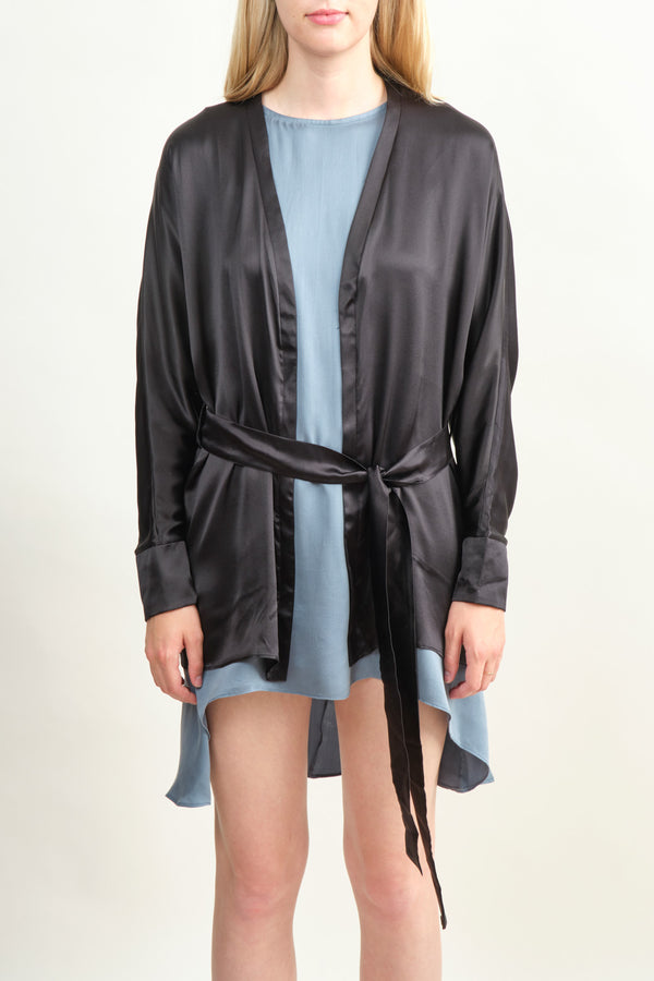 Women's Black Silk Robe