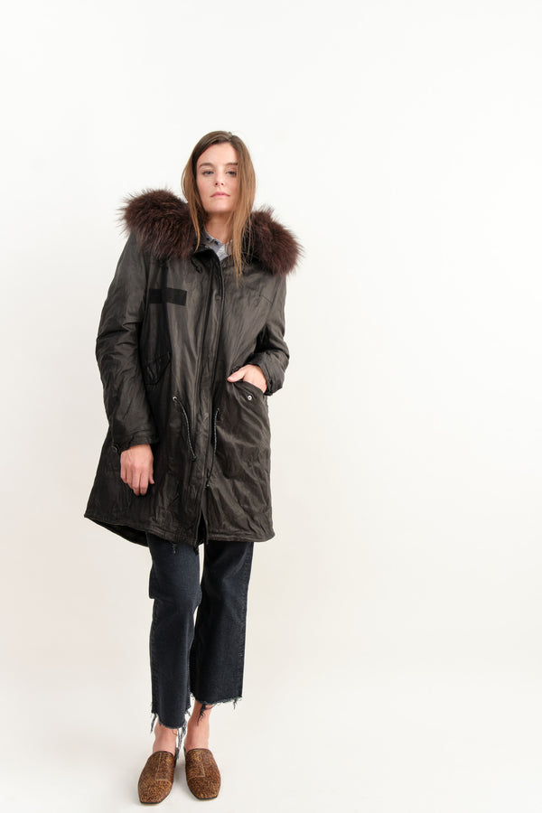 Fishtail Parka In Black Cow Leather
