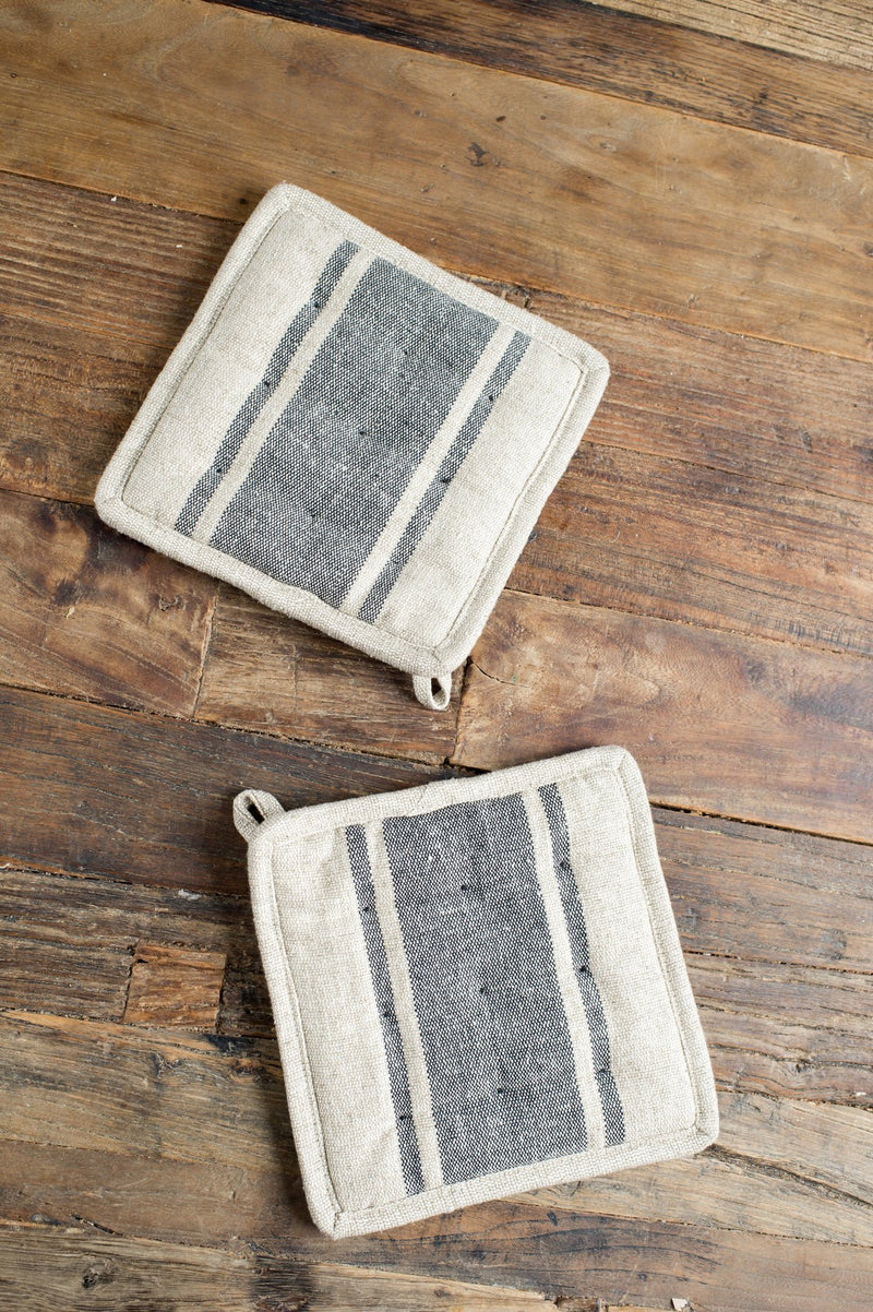 cotton-linen blend pot holders farmhouse pottery