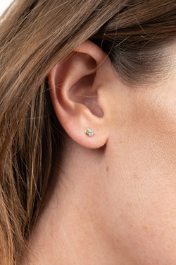 Wwake Small Disc Stud with Opal Earrings