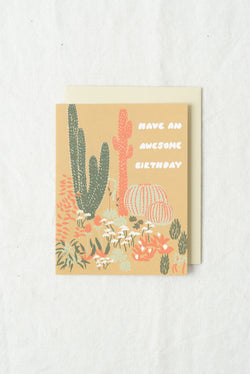 Small Adventure Cacti Vignette Awesome Birthday Card