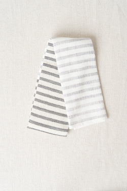 Linen Border Face Towel in Black
