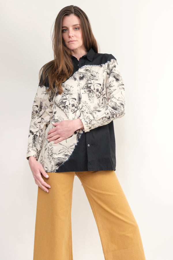 Suzusan Botanical Pattern Long Sleeve Shirt