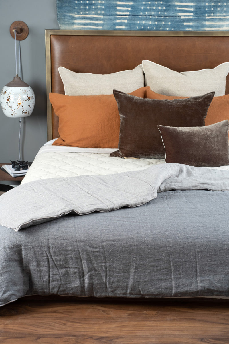 "Maison De Vacances 55 x 98"" Washed Linen Vice Versa Duvet In Ardoise"
