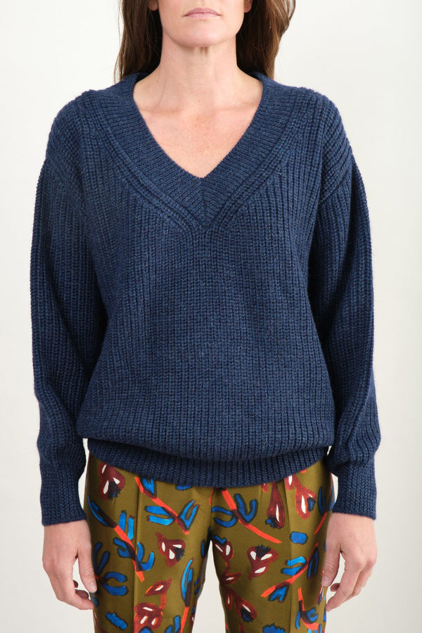 Revel Sweater In Navy Mara Hoffman