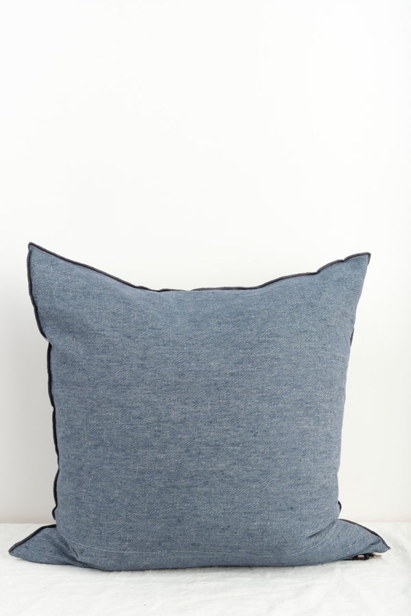 "Maison de Vacances 26 x 26"" Washed Linen Vice Versa Cushion In Petrole"
