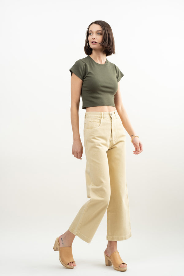 Harlin Liv Crop Rib Tee In Palm