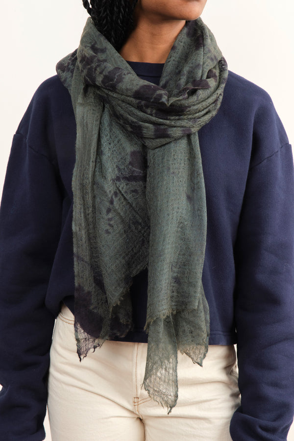 Suzusan Hand Woven Feather Weight Shawl In Navy Blue-Moss Green