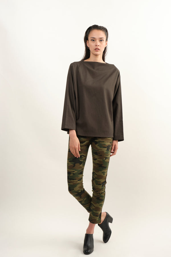 Black Crane Folded Neck Top In Dark Grey