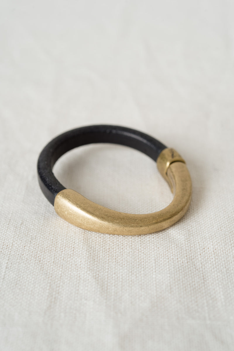 brass and leather jewelry