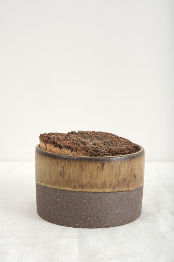 "Humble Ceramics 4.5"" x 3"" Corked Canister In Brownstone/Tortoise"