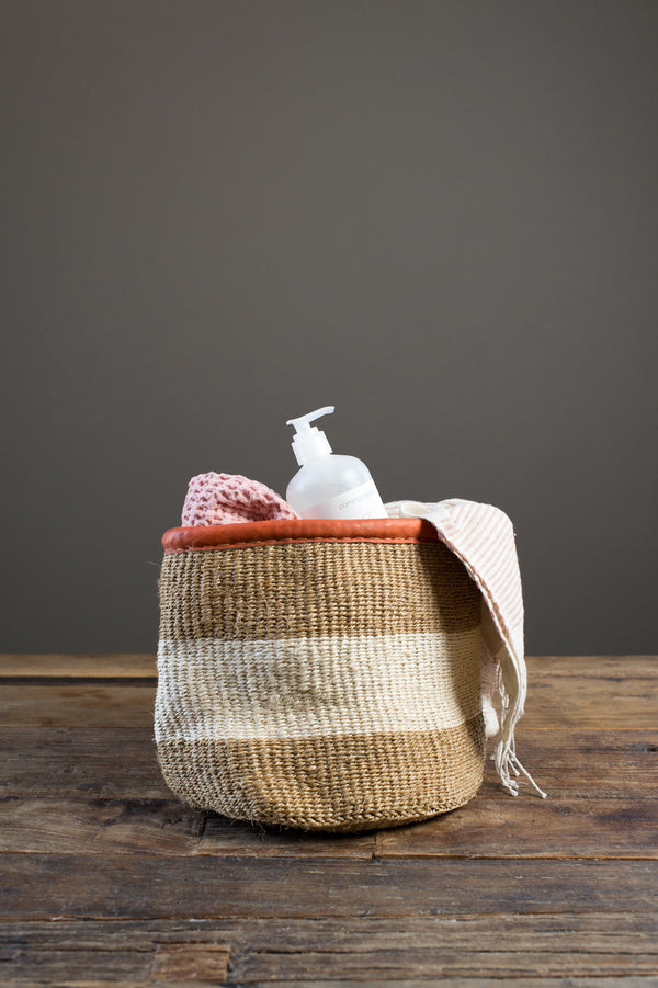 white stripe basket