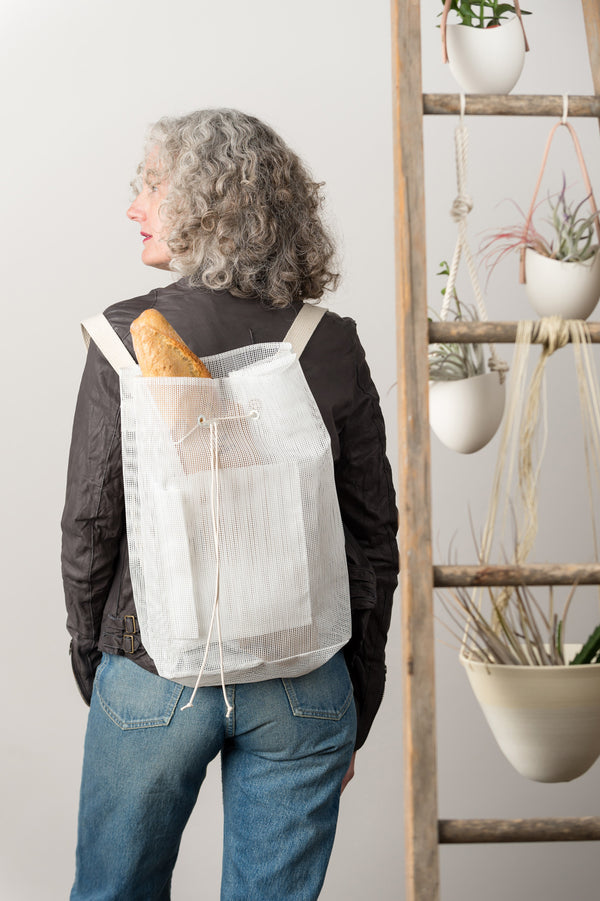 white mesh backpack