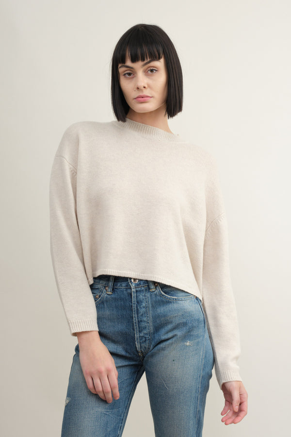 7115 by Szeki relaxed mock neck sweater