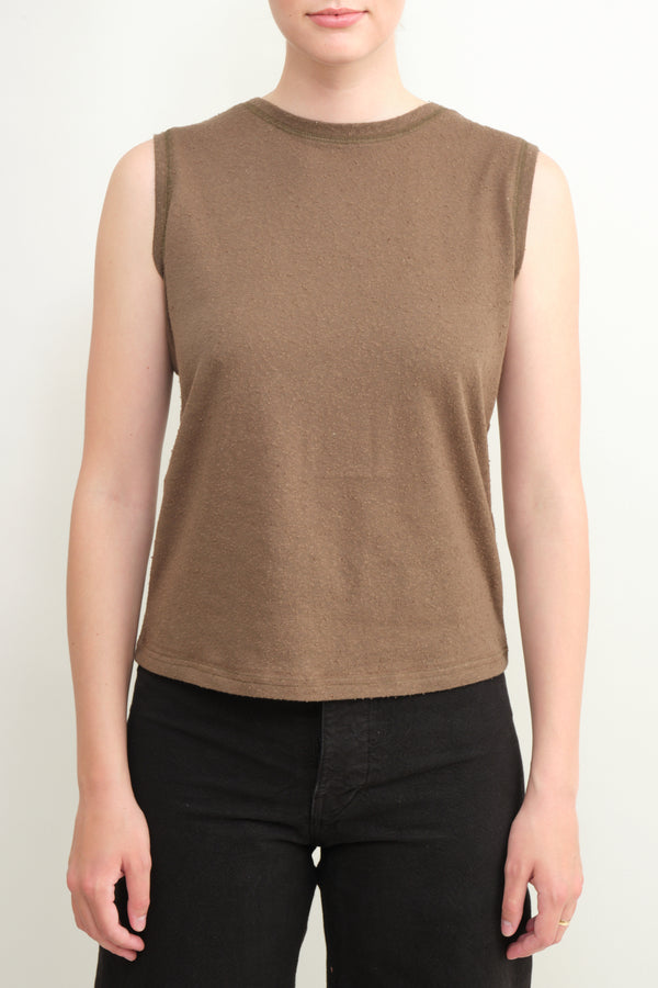 linen textured tank tee 7115 by Szeki