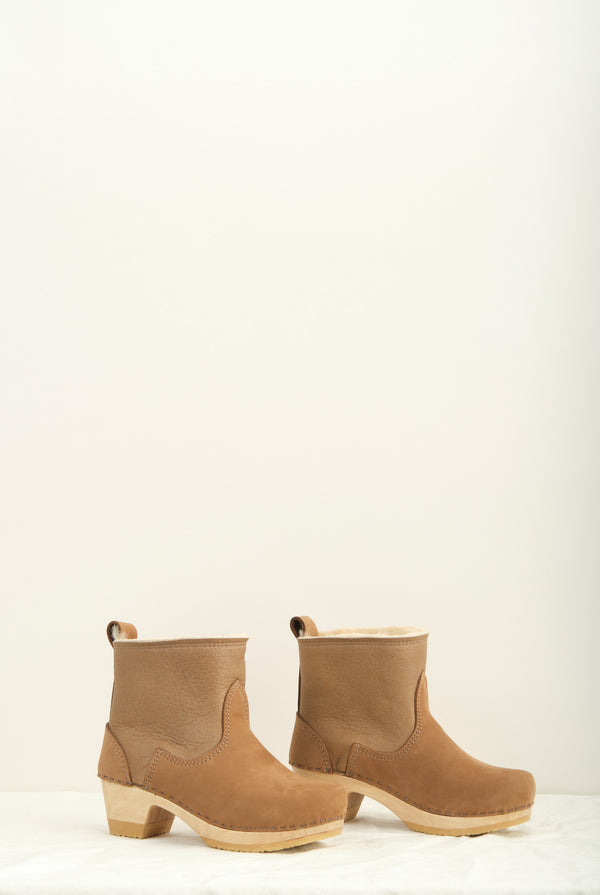 "No. 6 5"" Pull on Shearling Clog Boot on Mid Heel In Honey Aviator"